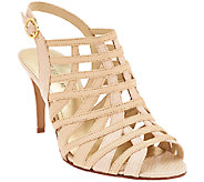 As Is Marc Fisher Leather Open-toe Heeled Sandals - Nalora - A270845