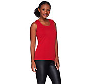 Susan Graver Passport Knit Square Neck Tank w/ Seaming Detail - A272345