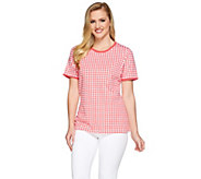 Denim & Co. Gingham Printed Short Sleeve Knit Top - A275245