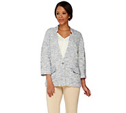 C. Wonder Textured Knit 3/4 Sleeve Jacket with Status Button - A275945