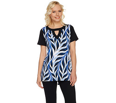 Bob Mackie's Palm Printed High-Low Hem Knit Tunic with Keyhole Neck - A276145