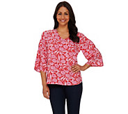 Kelly by Clinton Kelly Cold Shoulder 3/4 Sleeve Blouse - A276345