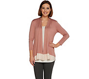 LOGO Layers by Lori Goldstein 3/4 Sleeve Open Front Knit Cardigan - A276645