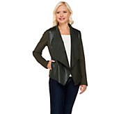 As Is Denim & Co. Faux Leather Cardigan with Ponte Sleeves - A277145