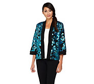 As Is Bob Mackies Open Front Floral Sequined Jacket - A277545