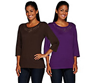 As Is Quacker Factory Copper crush Set of 2 Embellished T-Shirts - A278145