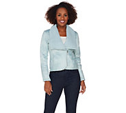 H by Halston Faux Shearling Motorcycle Jacket - A281245