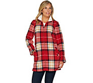 Denim & Co. Printed Fleece Stand Collar Long Sleeve Jacket - A284545