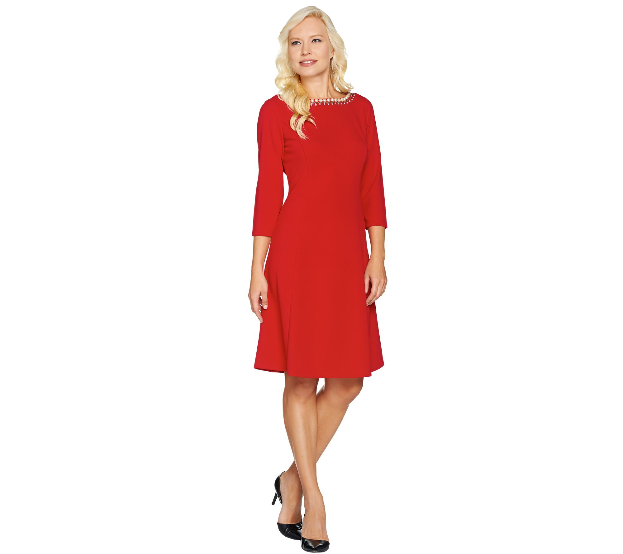 Dennis Basso Caviar Crepe Knit Dress with Embellishment ...