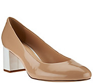 As Is Isaac Mizrahi Live! Patent Leather Pumps with Contrast Heel - A287545