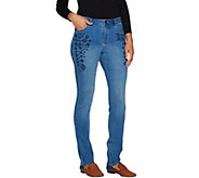 LOGO by Lori Goldstein Embroidered 5-Pocket Slim Leg Jean - A296545