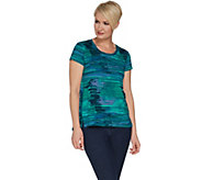 H by Halston Printed Scoop Neck Knit Top with Hi-Low Hem - A300845