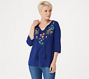 Quacker Factory Bohemian Floral Knit Top With Tassel Detail - A303245
