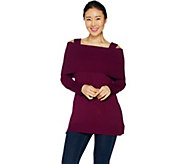 As Is Isaac Mizrahi Live! Convertible Cold Shoulder Sweater Tunic - A304545