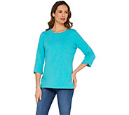 Denim & Co. Essentials Crew Neck Heathered Knit Top - A304645