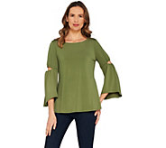 H by Halston Jet Set Jersey 3/4 Sleeve Top with Cut-Out Detail - A305345
