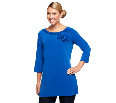 Susan Graver Liquid Knit Tunic Top with Origami Flower Trim
