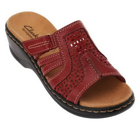 Clarks Leather Sandals With Adj Straps Lexi Bark
