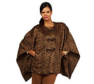 Isaac Mizrahi Live! Leopard Blanket Coat with Toggles - A225646