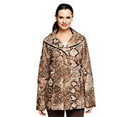 Dennis Basso Animal Print Quilted Coat with Faux Fur Lining - A229346