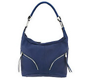As Is B. Makowsky Zip Top Leather Hobo Bag - A235446