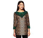 Susan Graver Liquid Knit Border Print Tunic with 3/4 Sleeves - A237946