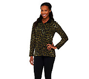 Denim & Co. Active Animal Print Waffle Knit Half Zip Top - A238346