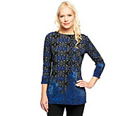 Susan Graver Liquid Knit Border Print Bateau Neck Tunic - A239446