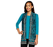 Susan Graver Liquid Knit Top w/ Border Print Liquid Knit Vest - A240146