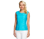 Linea by Louis DellOlio Lace Cap Sleeve Top w/ Lining - A252346