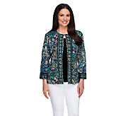 Joan Rivers Perfect Paisley Knit Jacket with 3/4 Sleeves - A255146