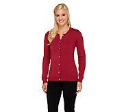 Liz Claiborne New York Cotton Cashmere Crew Neck Cardigan - A256446