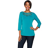 Susan Graver Liquid Knit Bateau Neck Top w/ Embellished Cutout Details - A257946