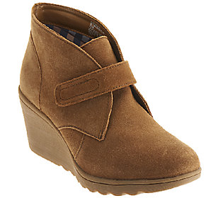 white mountain suede wedge ankle boots w monk kix