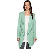 LOGO Lounge by Lori Goldstein French Terry Drape Front Cardigan - A262646