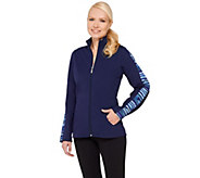 Denim & Co. Active Duo-Stretch Printed  Zip Front Jacket - A265646