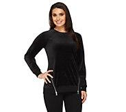 As Is Denim & Co. Active Velour Sweatshirt w/ Zipper Detail - A265746