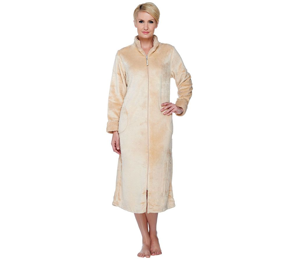 Stan Herman Silky Plush Long Zip Robe - A266746 — QVC.com 1ae5dfa6b