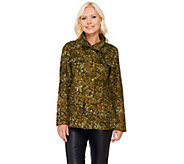 LOGO by Lori Goldstein Cotton Twill Printed Camo Jacket - A267846