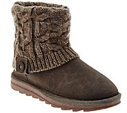 MUK LUKS Flannel-Lined Gored Ankle Boots w/Knit Textured Cuff - A268646
