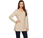 Susan Graver Dolce Knit Long Sleeve Tunic with Button Detail - A272346