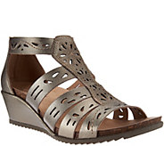Earth Origins Leather Perforated Multi-strap Wedges - Ruby - A274246