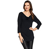 H by Halston Essentials Cowl Neck 3/4 Sleeve Knit Top - A274546