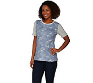 Denim & Co. Short Sleeve Paisley Front Knit Top with Solid Back - A275246