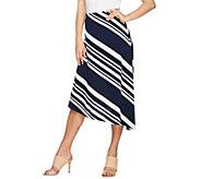 Susan Graver Liquid Knit Comfort Waist Asymmetrical Skirt - A276446