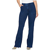 Isaac Mizrahi Live! Regular Knit Denim Flared Pants w/ Patch Pockets - A279046