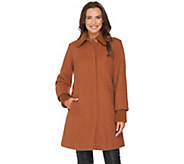 Dennis Basso Wool Blend Coat with Sweater Knit Trim - A280546