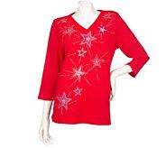 As Is Quacker Factory 3/4 Sleeve Sparkle Motif V-neck T-shirt - A280746