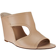 As Is H by Halston Open- Toe Cut-Out Leather Mules - Holly - A283846
