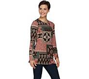 Denim & Co. Long Sleeve Round Neck Printed Tunic - A284546